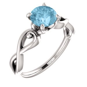 Jewels By Lux 14k White Gold Round 6.5 mm Polished Aquamarine Set Ring Size 7