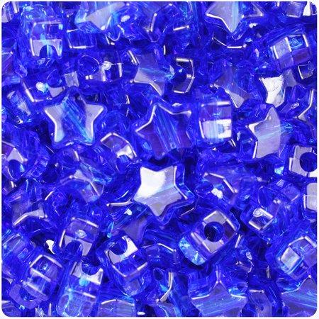 BeadTin Dark Sapphire Transparent 13mm Star Pony Beads (250pcs)