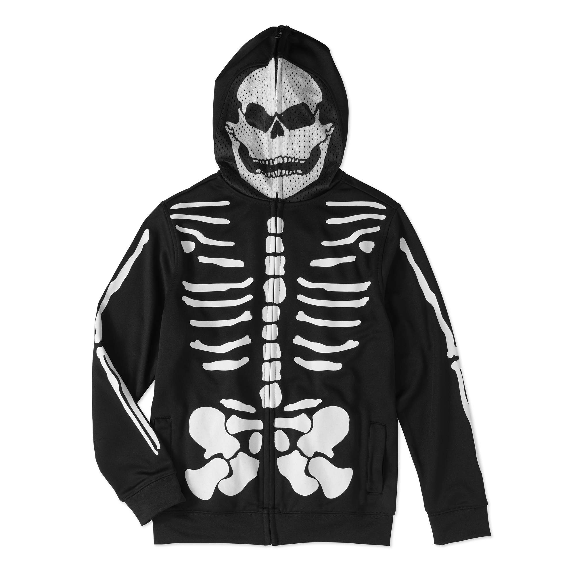 Boys' Long Sleeve Skeleton Zip Up Costume Hoodie