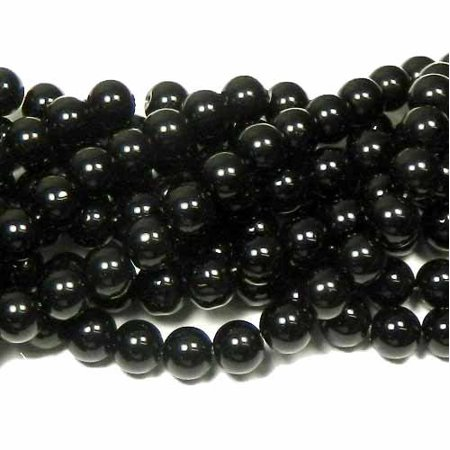 - 12mm Synthetic Black Onyx Round Hardened Glass, Loose Beads, 40cm 15 inch Strand