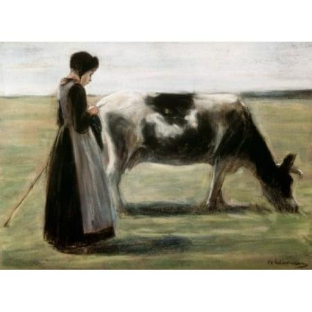 Das Madchen Mit der Kuh  Max Liebermann (1847-1935German)  Pushkin Museum of Fine Arts Moscow    Canvas Art - Max Liebermann (24 x 36) (Das Mädchen Mit Der Brille)