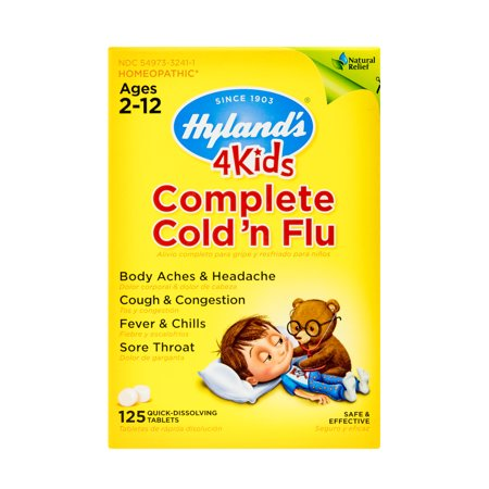 - Hyland's 4 Kids Complete Cold 'n Flu, Natural Relief of Cold and Flu Symptoms, 125 Quick Dissolving Tablets