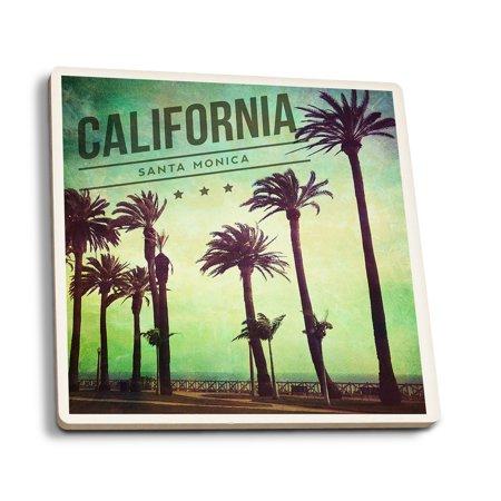 Santa Monica, California - Boardwalk & Palms - Lantern Press Photography (Set of 4 Ceramic Coasters - Cork-backed, Absorbent)