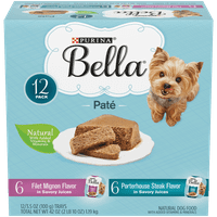 (12 Pack) Purina Bella Natural Small Breed Pate Wet Dog Food Variety Pack, Filet Mignon & Porterhouse Steak in Juices, 3.5 oz. Trays
