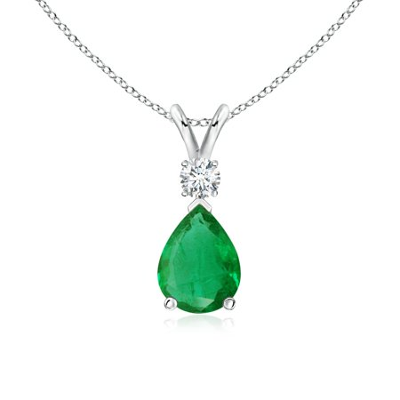 - Mother's Day Jewelry - Emerald Teardrop Pendant with Diamond in 14K White Gold (8x6mm Emerald) - SP0169E-WG-AA-8x6