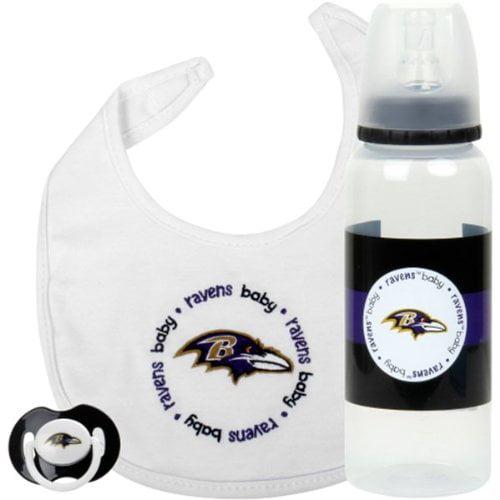 Baltimore Ravens Baby 3-piece Pacifier, Bib & Bottle Gift Set