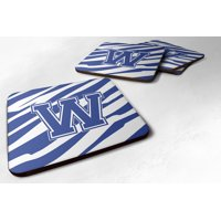 Set of 4 Monogram - Tiger Stripe Blue and White Foam Coasters Initial Letter W