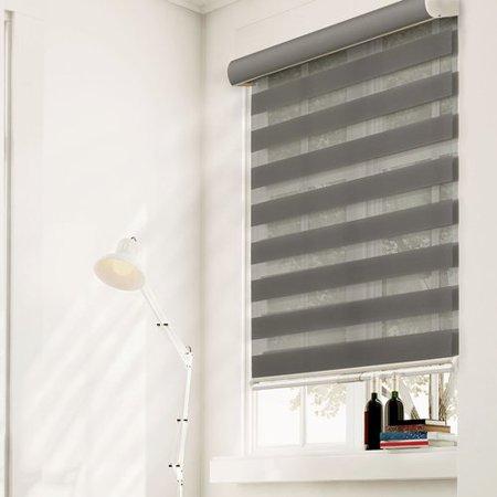 Dual Pocket Zebra - Latitude Run Free-Stop Cordless Zebra Dual Layer Combi Window Blind Striped Granite Semi-Sheer Gray Roller Shade