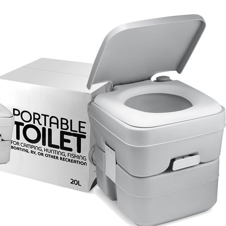 ShopoKus Portable Toilet Camping Porta Potty - 5 Gallon Waste Tank - Durable, Leak Proof, Flushable Easy to use RV Toilet With Detachable Tanks for Effortless Cleaning & Carrying, for Boating & (Best 1.6 Gallon Flush Toilet)