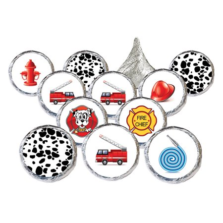 Firefighter Birthday Party Stickers 324ct - Fireman Fire Truck Birthday Party Supplies Candy Favors Decorations - 324 Count - Fire Party Supplies