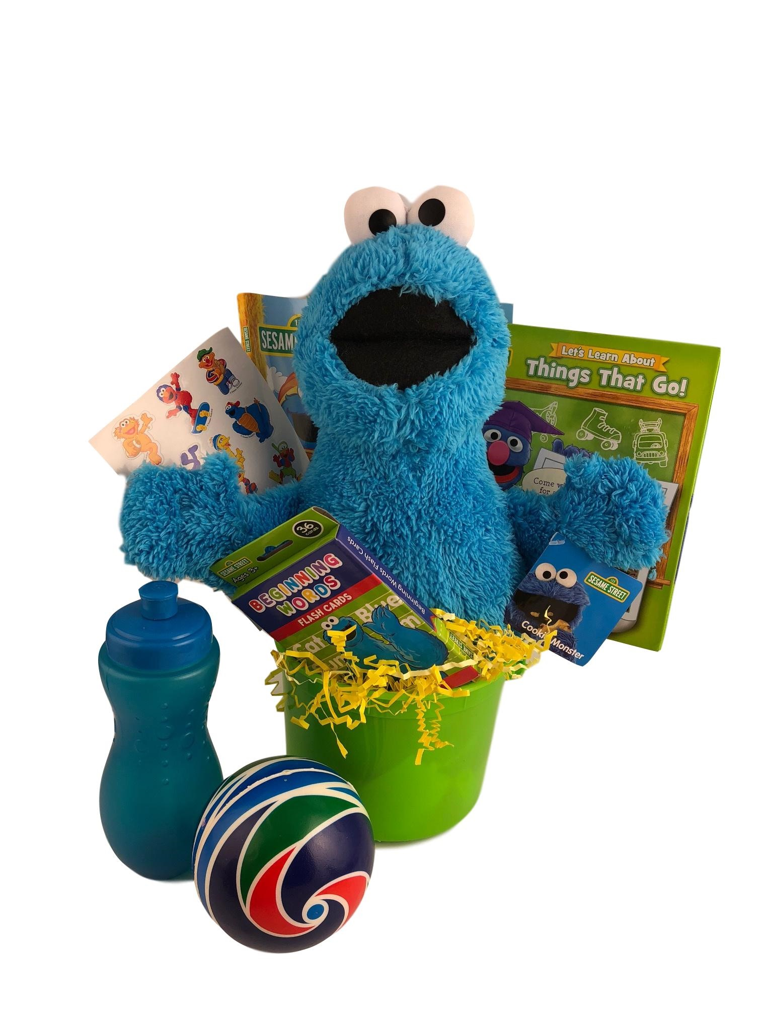 Kids Themed Cookie Monster Gift Basket Sesame Street For Birthdays Holidays Care Package Cookie Monster Plush... by
