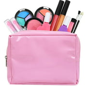 Click N' Play 12 Piece Pretend Play Washable Makeup Set In Pink Cosmetic Tote Bag.