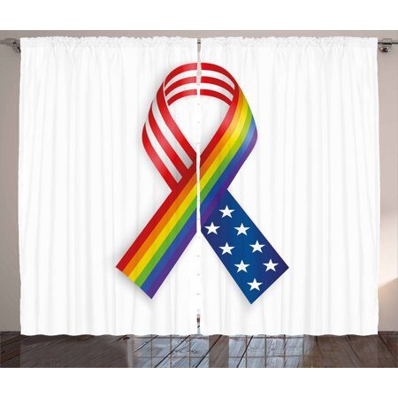 Pride Curtains 2 Panels Set, Rainbow and USA Ribbons Solidarity Equality and Awareness in the World Theme Print, Window Drapes for Living Room Bedroom, 108W X 63L Inches, Multicolor, by Ambesonne