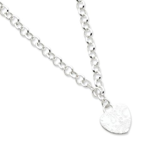 Roy Rose Jewelry Sterling Silver Embossed Heart Dangle Necklace 17'' length Sterling Silver 17 Fashion