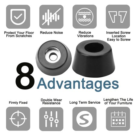 16pcs Rubber Feet Bumper Protector for Furniture Feet with Washer, D15x12xH8mm - image 2 de 7