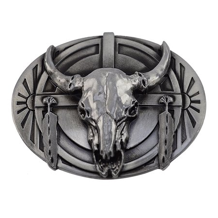 Metal Steer Skull Cow Bull Head Horns Men's Women Belt Buckle Men Ladies Fashion ()