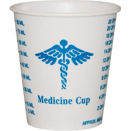 - Solo Graduated Medicine Cup  3 oz., Medical Print, Wax Paper, Disposable, Sleeve of 100