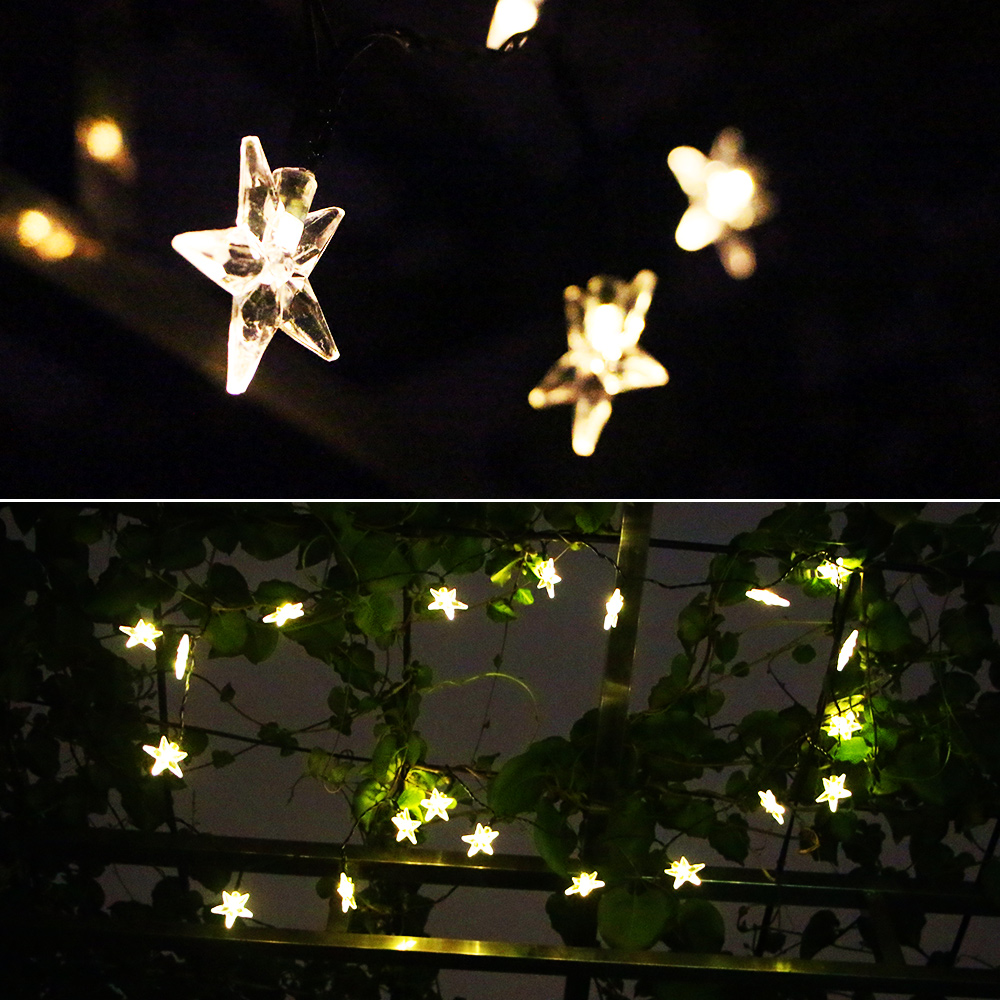 agptek 20 led solar star powered outdoor string lights waterproof for outside garden warm white walmartcom