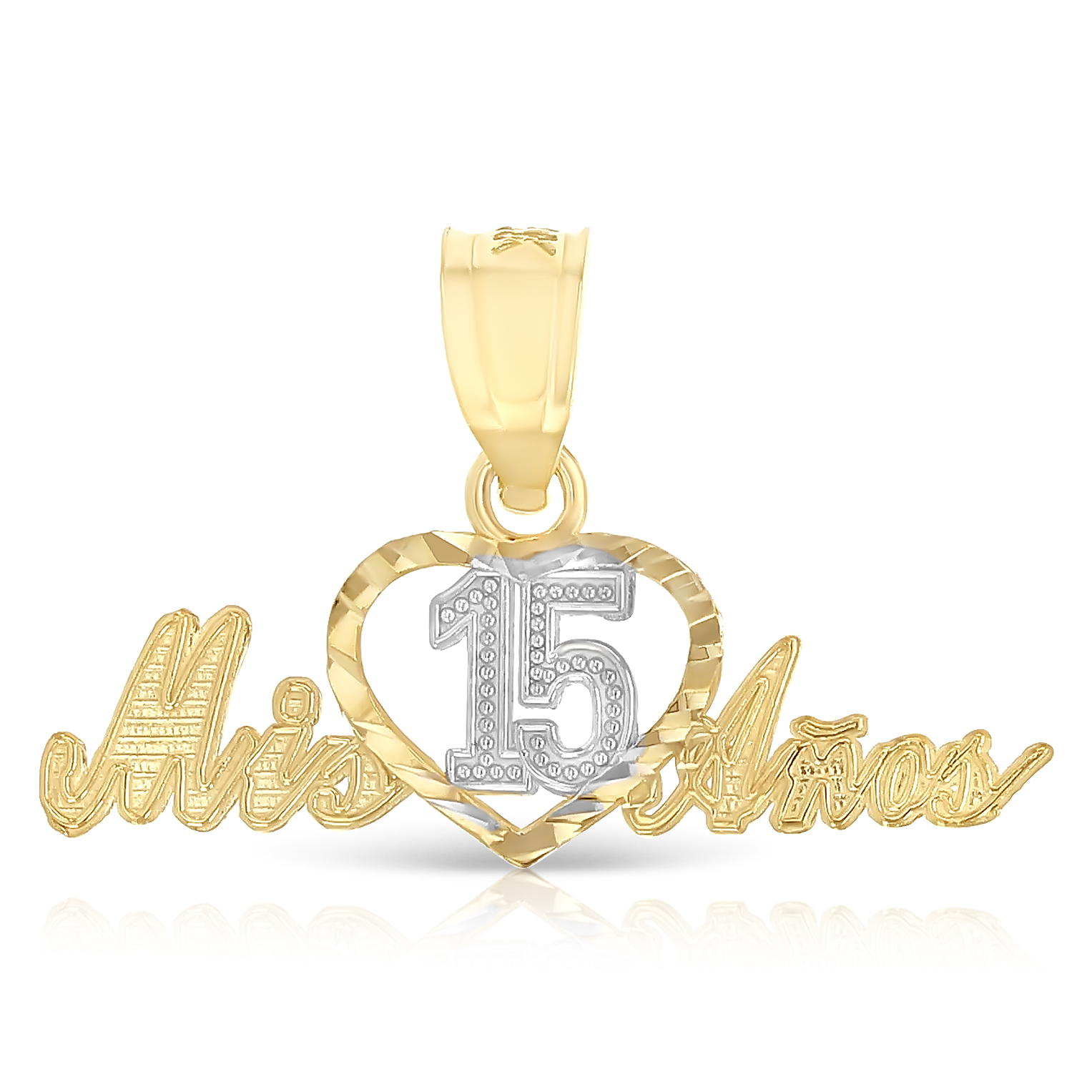 14K Two Tone Gold Slanted Heart Charm Pendant For Necklace or Chain