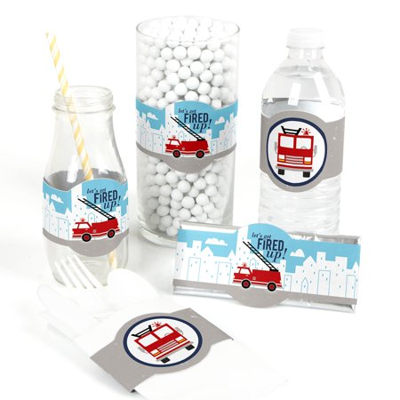 Fired Up Fire Truck - DIY Party Supplies - Firefighter Firetruck Baby Shower or Birthday Party DIY Wrapper Favors - Fire Truck Birthday Supplies