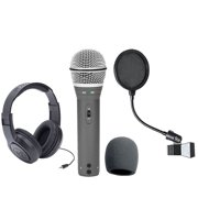 Samson Q2U Recording and Podcasting Pack with USB/XLR Dynamic Microphone + Samson SR350 Over-Ear Stereo Headphones + Pop Filter & Foam Windscreen