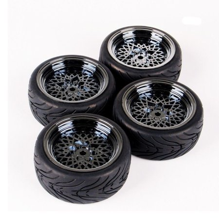 4X 1:10 Flat Racing On Road Car Rubber Tire Wheel Rims For HSP HPI RC 10362