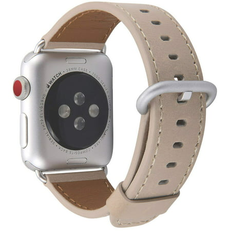 Coverlab - Apple Watch Band 42mm, Men Women Light Tan Genuine Leather Replacement Iwatch Strap with Silver Metal Clasp for Apple Watch Series 3 2 1 Sport ...