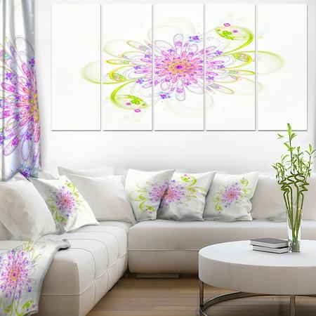 Purple Green Glowing Fractal Flower - Floral Canvas Art Print - image 3 of 3