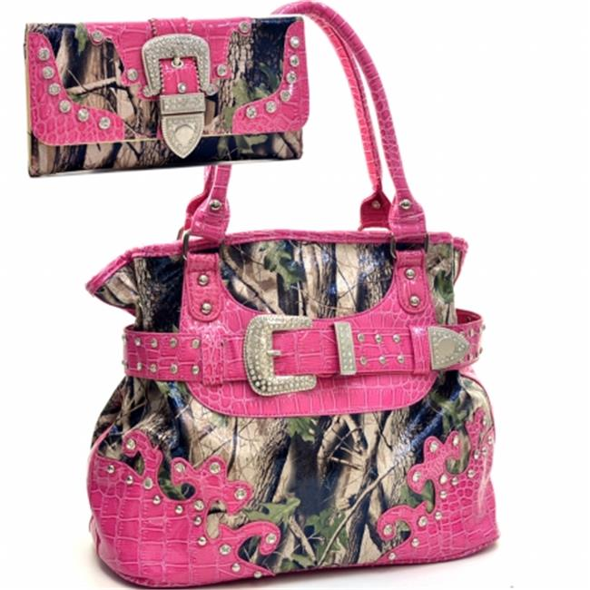 Ritz Enterprises BT920SET-PK/CAM Western Camouflage Belt Buckle Rhinstone Bling Purse With Matching Wallet - Pink & Camo