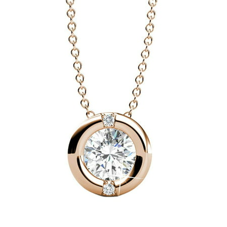 White Gold Round Locket - Cate & Chloe Zara 18k Rose Gold Chain Pendant Necklace with Swarovski Crystal, Beautiful Classic Sparkling Necklace with Swarovski Crystals, Round Diamond Cut Solitaire, MSRP $162