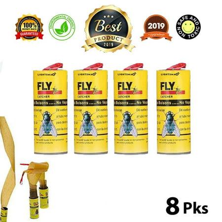LIGHTSMAX Fly Catcher Trap, Fly Trap, Fly Bait, Fly Paper Ribbon, Sticky Fly Ribbons, Fly Paper Strips, Sticky Fly Strips, Flying Killer