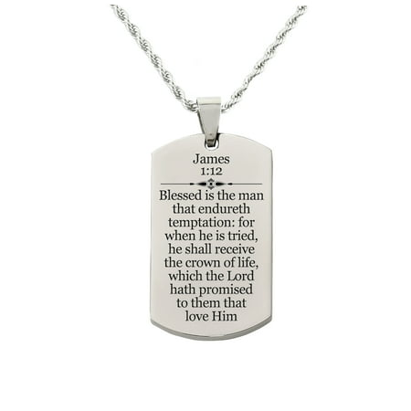Holy Scripture Tag Necklace in Solid Stainless Steel - JAMES 1:12