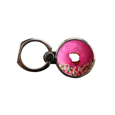 Pink Frosted Donut Round Ring - Phone Holder Stand in Silver Donut Pendant Holder