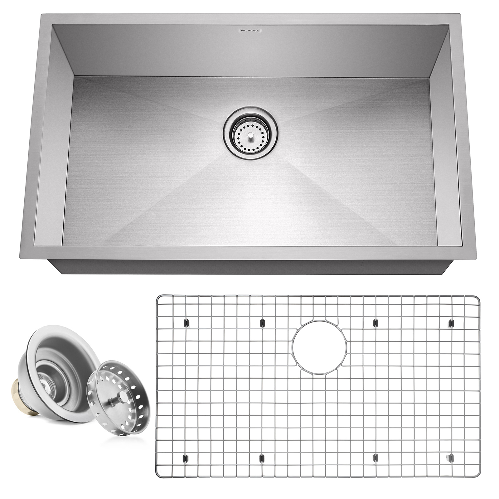Miligore 10 Deep Single Bowl Undermount Zero Radius 16 Gauge Stainless Steel Kitchen Sink Includes Drain Grid Walmart Com Walmart Com