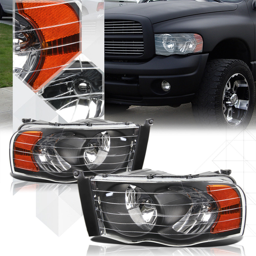 Black Housing Headlight Amber Signal Reflector for 02-05 Dodge Ram 1500/2500