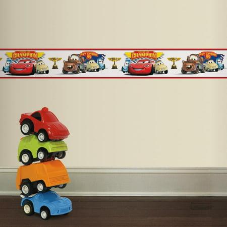 (RoomMates Cars Piston Cup Champion Peel & Stick Wall Border LIGHTNING MCQUEEN Wallpaper Decor)