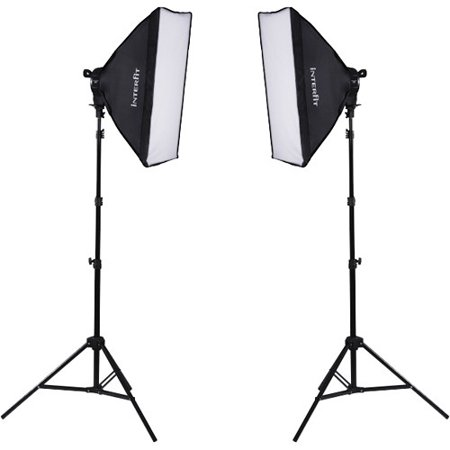Interfit INT502 F5 Two-Head Fluorescent 2 Light Kit includes 2 F5 Fluorescent Lamp Heads, 2 Soft Boxes, 2 Light Stands & 10 INT042 Lamps