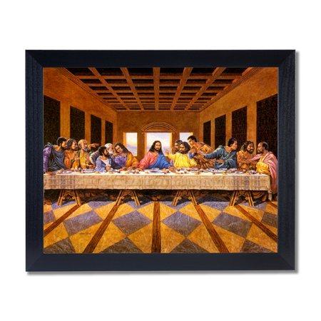 Black Last Supper Jesus Christ Religious Wall Picture Black Framed Art Print