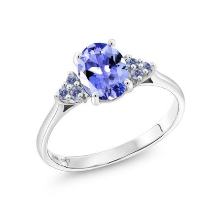 1.28 Ct Oval Blue Tanzanite Blue Iolite 10K White Gold Ring ()