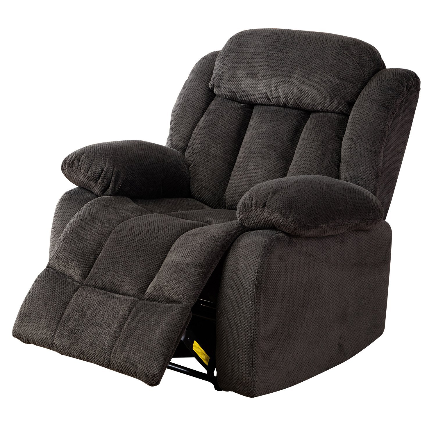BONZY Recliner Chair Manual Stretched Recliner Chair Leather Cover Living Room Lounge Chair