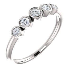 Jewels By Lux 14k White Gold 1/4 CTW Diamond Graduated Bezel Set Ring