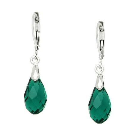 - Falari Glass Crystal Pear Shaped Earring Emerald