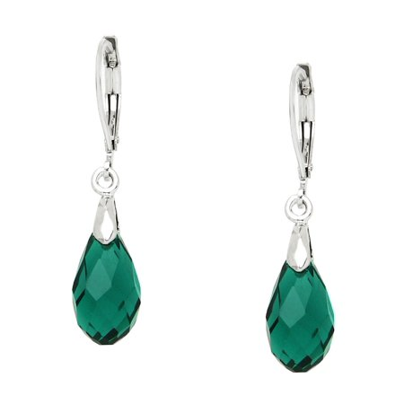 Pear Shaped Glass (Falari Glass Crystal Pear Shaped Earring Emerald)