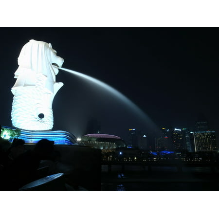 canvas print night view monument merlion singapore stretched canvas 10 x 14 - Halloween Night 2017 Singapore
