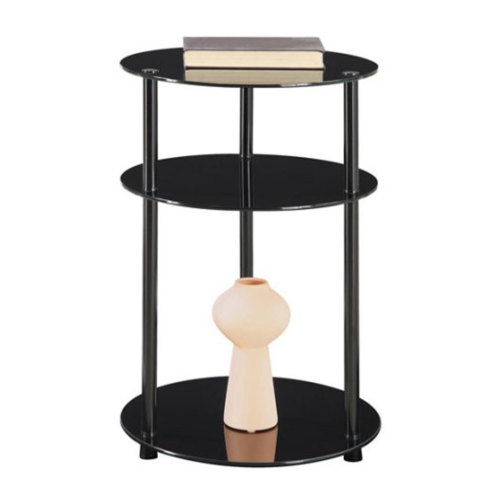 Zimtown 3-Tier Round Glass Side Table Storage Office Home Stand Oragnizer Furniture Black