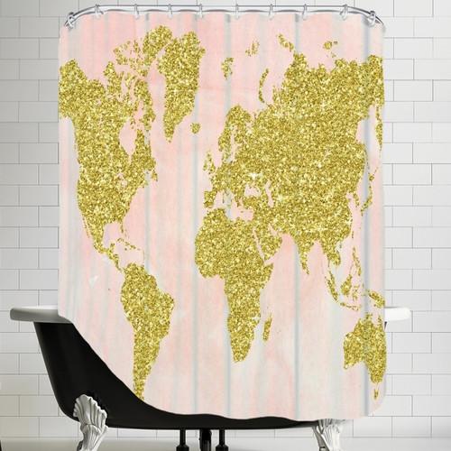 Brayden Studio Ikonolexi World Map Single Shower Curtain