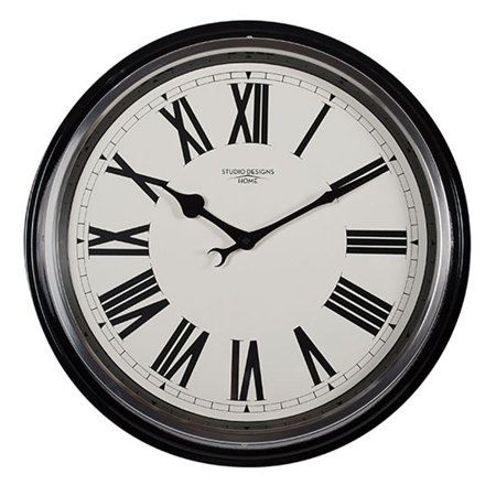 Offex 19 Quot Traditional Metal Roman Numeral Wall Clock In
