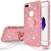 Apple iPod Touch 6 Case, iPod 6/5 Case [Tempered Glass Screen Protector],Glitter Ring Stand Bling Sparkle Diamond Case For Apple iPod Touch 5/6th Generation - Rose Gold