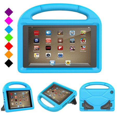 Goodest Kids Case for Amazon Fire HD 8 Tablet, Kids Friendly Shockproof Convertible Handle Light Weight Stand Protective Case Cover for Fire HD 8-inch (6th & 7th Generation,2016 & 2017 Release), Blue