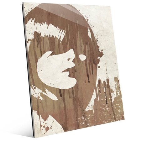 Click Wall Art 'Drippy City Girl Brown' Painting Print on Glass